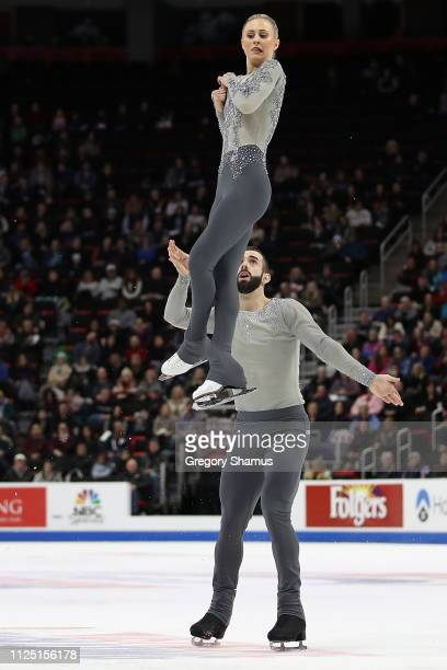 Ashley Cain and Timothy LeDuc compete in the senior pairs free skate during the 2019 US Figure Skating Championships at Little Caesars Arena on...