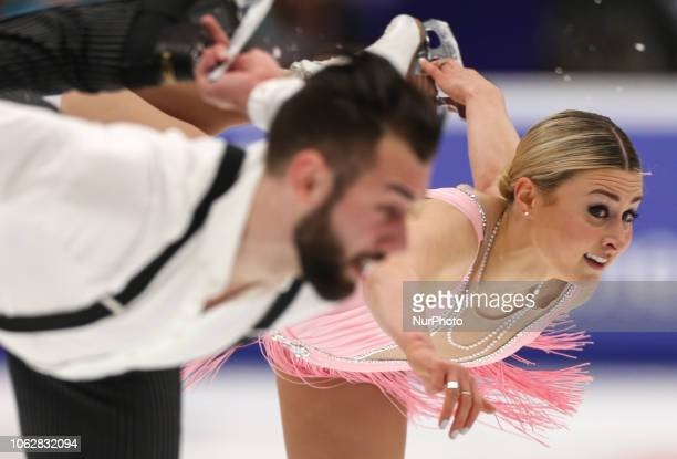 Ashley Cain and Timothy Leduc of the United States perform during the pairs short program at the ISU Grand Prix of Figure Skating Rostelecom Cup in...