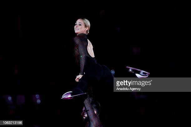 Ashley Cain and Timothy Leduc of the United States perform during the Gala Exhibition of the ISU GP Rostelecom Cup 2018 at the Megasport Arena in...