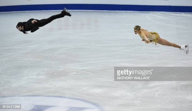Ashley Cain and Timothy Leduc of the US perform during the pairs free skating program at the ISU Four Continents figure skating championships in...