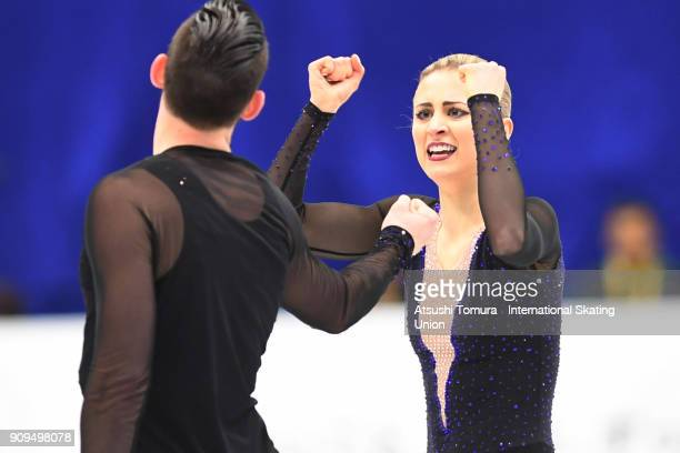 Ashley Cain and Timothy Leduc of the USA celebrate afer the pairs short program during the Four Continents Figure Skating Championships at Taipei...