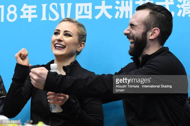 Ashley Cain and Timothy Leduc of the USA celebrate at kis and cry after competing in the pairs free skating during day three of the Four Continents...