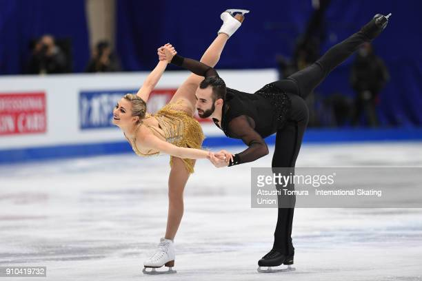 Ashley Cain and Timothy Leduc of the USA compete in the pairs free skating during day three of the Four Continents Figure Skating Championships at...