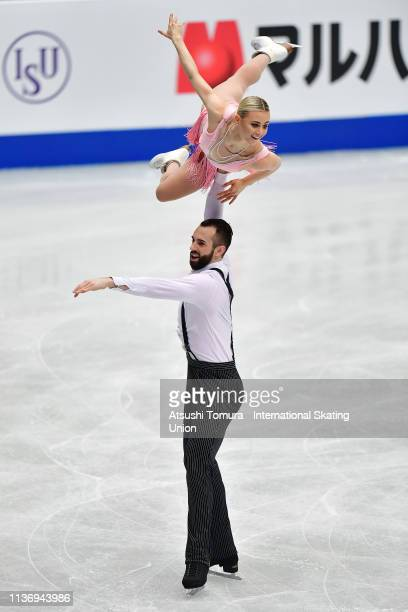 Ashley Cain and Timothy Leduc of the USA compete in the Pairs short program during day 1 of the ISU World Figure Skating Championships 2019 at...