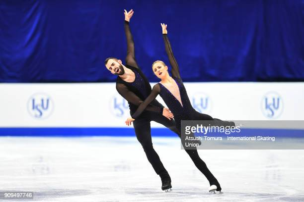 Ashley Cain and Timothy Leduc of the USA compete in the pairs short program during the Four Continents Figure Skating Championships at Taipei Arena...