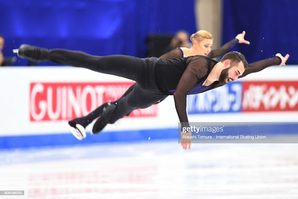 Ashley Cain and Timothy Leduc of the USA compete in the pairs short program during the Four Continents Figure Skating Championships at Taipei Arena on January 24, 2018 in Taipei, Taiwan.
