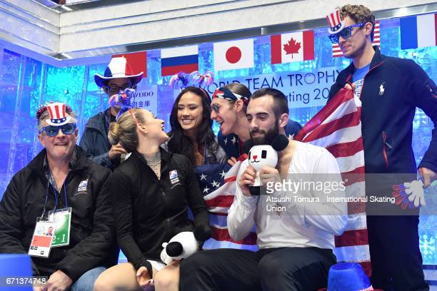 Ashley Cain and Timothy Leduc of the USA reacts with their team mates at the kiss and cry after the Pairs free skating during the 3rd day of the ISU...