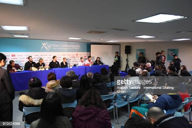 Ashley Cain and Timothy Leduc of the USA Tarah Kayne and Danny O'Shea of the USA Tae Ok Ryom and Ju Sik Kim of North Korea attend a press conference...