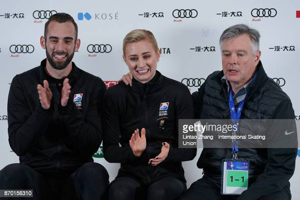 Ashley Cain and Timothy Leduc of United States reacts after competes in the Pairs Free Skating on day two of Audi Cup of China ISU Grand Prix of...
