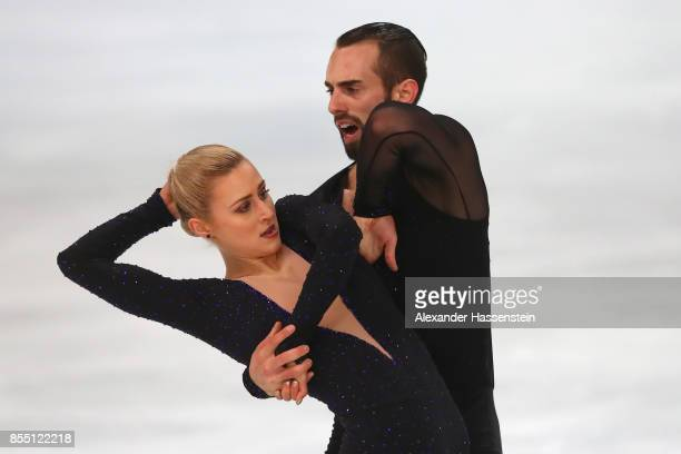 Ashley Cain and Timothy Leduc of USA performs at the Pairs short program during the 49 Nebelhorn Trophy 2017 at Eishalle Oberstdorf on September 28...