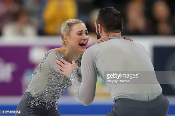Ashley Cain and Timothy LeDuc react after completing their senior pairs free skate at the 2019 US Figure Skating Championships at Little Caesars...