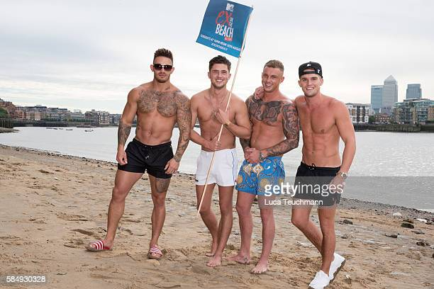 Ashley Cain Jordan Davies David Hawley and Gary Beadle attend the cast of 'Ex on The Beach' promote the series starting 16th August on August 1 2016...