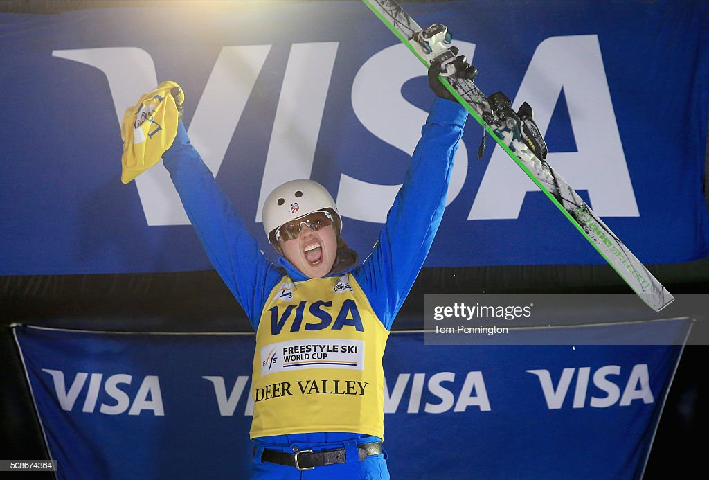 Ashley Caldwell celebrates after winning the overall points leader yellow bib in the ladies' FIS Freestyle Skiing Aerial World Cup at the Visa Freestyle International at Deer Valley on February 5, 2016 in Park City, Utah.