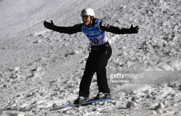 Ashley Caldwell of the United States celebrate after her jump during the Women's Aerials Final on day three of the FIS Freestyle Ski and Snowboard...