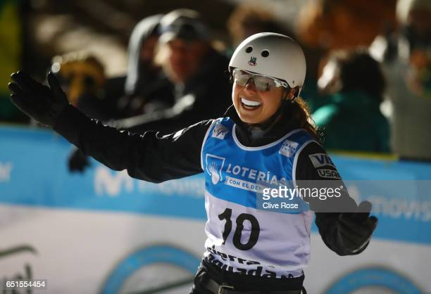 Ashley Caldwell of the United States celebrates after her jump during the Women's Aerials Final on day three of the FIS Freestyle Ski and Snowboard...