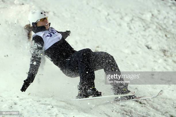 Ashley Caldwell of the United States crashes during the Ladies' Aerials Finals during the 2018 FIS Freestyle Ski World Cup at Deer Valley Resort on...