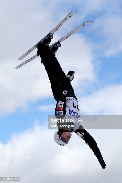 Ashley Caldwell of the United States jumps during practice in the Ladies' Aerials during the 2018 FIS Freestyle Ski World Cup at Deer Valley Resort...
