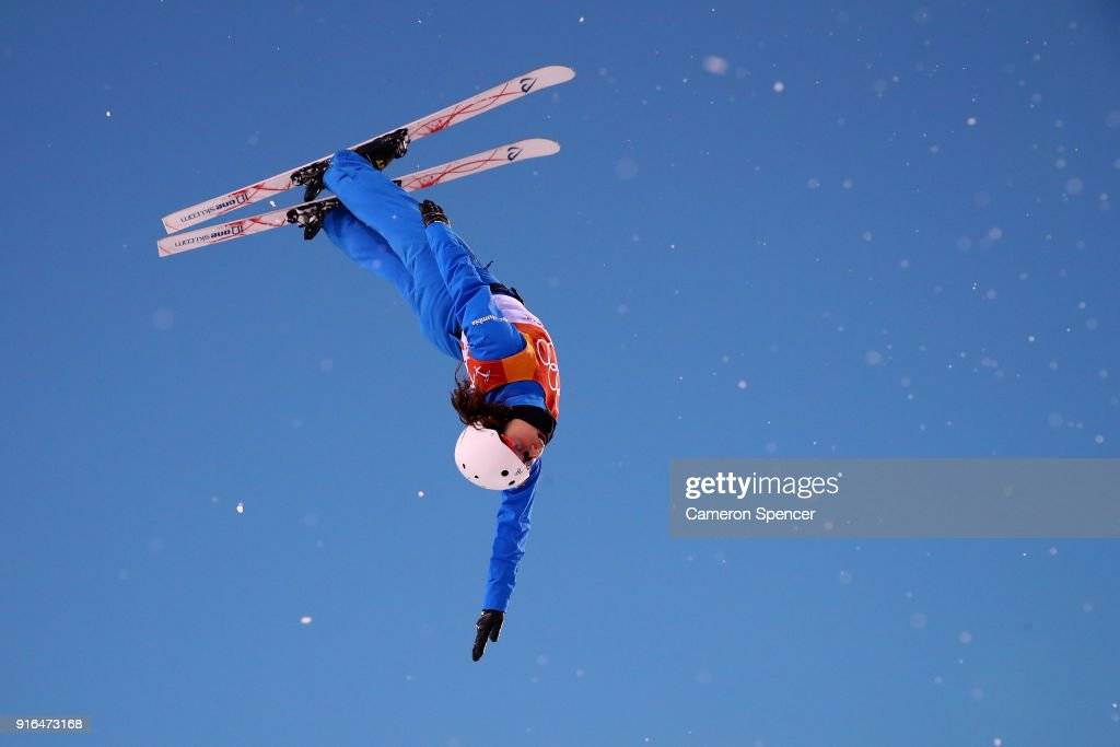Ashley Caldwell of the United States performs an aerial during Freestyle Skiing Ladies' Aerials training on day one of the PyeongChang 2018 Winter Olympic Games at Phoenix Snow Park on February 10, 2018 in Pyeongchang-gun, South Korea.