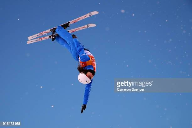 Ashley Caldwell of the United States performs an aerial during Freestyle Skiing Ladies' Aerials training on day one of the PyeongChang 2018 Winter...