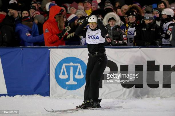 Ashley Caldwell of the United States reacts after crashing during the Ladies' Aerials Finals during the 2018 FIS Freestyle Ski World Cup at Deer...