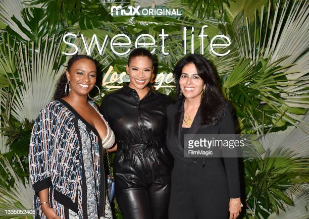 Ashley Calloway, Kamie Crawford and EP Sheri Maroufkhani attend the HBO Max - Sweet Life: Los Angeles screening at NeueHouse Los Angeles on August...