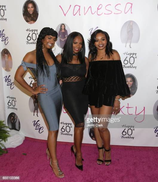 Ashley Calloway Vanessa Bell Calloway and Alexandra Calloway attend Vanessa Bell Calloway's 60th Birthday Bash at Cicada on March 18 2017 in Los...
