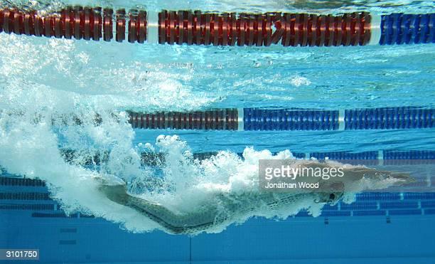 Ashley Callus of the Australian Olympic Swim Team tests the Fastskin FSII at the Valley Pool March 17 2004 in Brisbane Australia