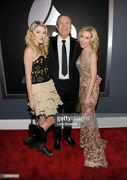 Ashley Campbell Glen Campbell and Kim Campbell arrive at the 54th Annual GRAMMY Awards held at Staples Center on February 12 2012 in Los Angeles...