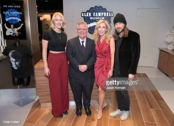 Ashley Campbell Nashville Mayor John Cooper Kimberly Woolen and Cal Campbell attend the Glen Campbell Museum and Rhinestone Stage opening on February...