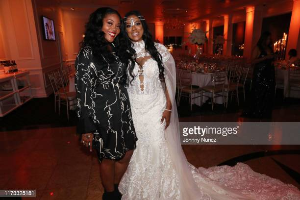 Ashley Campbell poses with Cicely Evans at the Treach Cicely Evans Wedding at Waterside Reception Hall on September 08 2019 in North Bergen New Jersey
