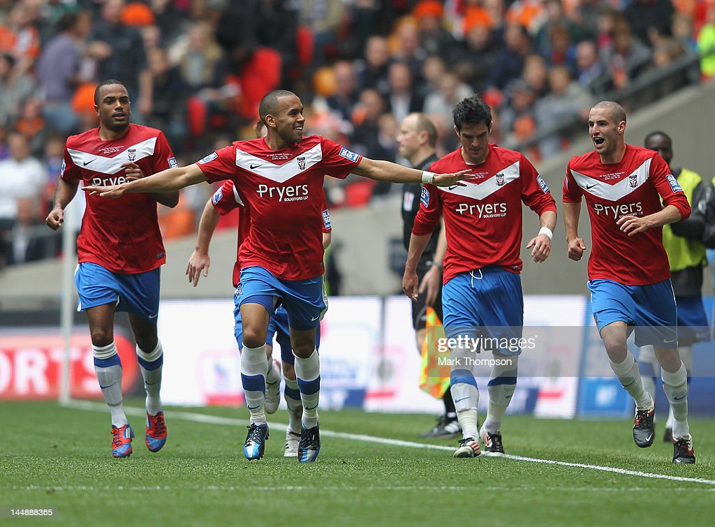 Ashley Chambers of York City (2nd L) celebrates his goal during the Blue Square Bet Premier League Play Off Final between Luton Town and York City, at Wembley Stadium on May 20, 2012 in London, England.