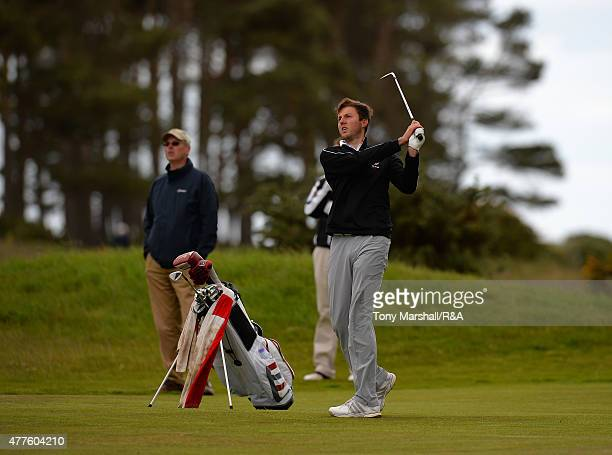 Ashley Chester of Hawkstone park plays his third shot on the 9th fairway during The Amateur Championship 2015 Day Four at Carnoustie Golf Club on...