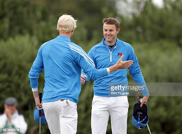 Ashley Chesters and Jimmy Mullen of Great Britain and Ireland Walker Cup Team celebrate after winning their morning foursomes game during the 2015...