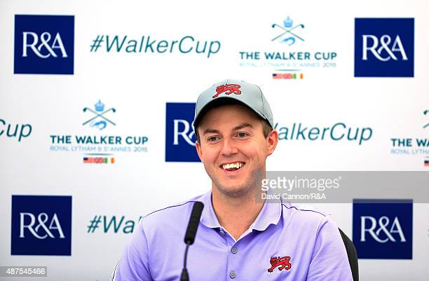 Ashley Chesters of England and the Great Britain and Ireland Team speaks to the media during practice for the 2015 Walker Cup Match at Royal Lytham...
