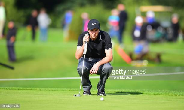 Ashley Chesters of England lines up his putt on the 9th green during the Porsche European Open Day Two at Green Eagle Golf Course on July 28 2017 in...