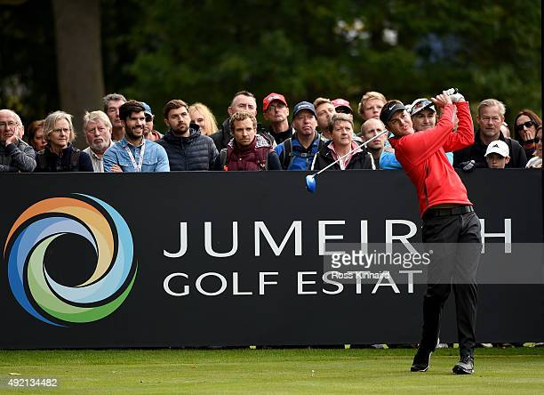 Ashley Chesters of England on 2nd tee during the third round of the British Masters at Woburn Golf Club on October 10 2015 in Woburn England