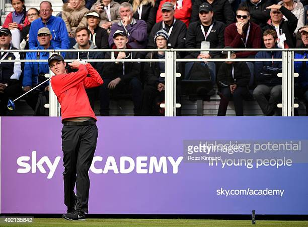 Ashley Chesters of England on the 1st tee during the third round of the British Masters at Woburn Golf Club on October 10 2015 in Woburn England