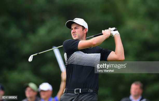 Ashley Chesters of England plays his first shot on the 2nd tee during the Porsche European Open Day Three at Green Eagle Golf Course on July 29 2017...