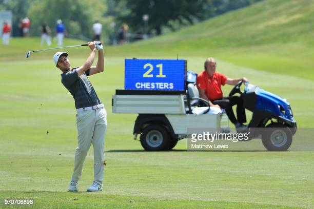 Ashley Chesters of England plays his second shot on the 8th hole during day four of The 2018 Shot Clock Masters at Diamond Country Club on June 10...