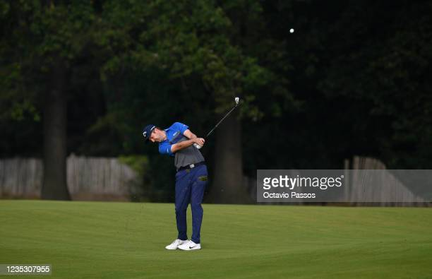 Ashley Chesters of England plays his second shot to the ninth hole during Day Two of the Dutch Open at Bernardus Golf on September 17, 2021 in...