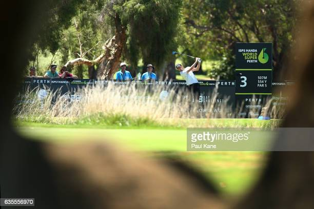 Ashley Chesters of England plays his tee shot on the 3rd hole during round one of the ISPS HANDA World Super 6 at Lake Karrinyup Country Club on...