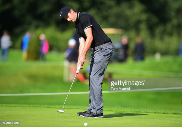 Ashley Chesters of England putts on the 9th green during the Porsche European Open Day Two at Green Eagle Golf Course on July 28 2017 in Hamburg...