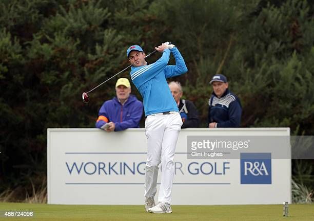 Ashley Chesters of Great Britain and Ireland Walker Cup Team plays a tee shot during their morning foursomes game during the 2015 Walker Cup at Royal...