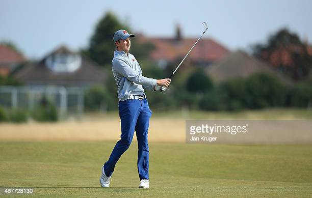 Ashley Chesters of Great Britain Ireland hits an approach during a Practice Round prior to the 2015 Walker Cup at Royal Lytham St Annes on September...
