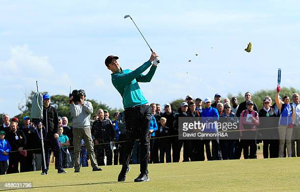 Ashley Chesters of Great Britain Ireland hits his 2nd shot on the 15th hole during the Sunday Foursomes on Day Two of the 2015 Walker Cup at Royal...