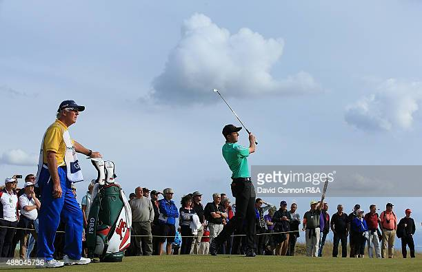 Ashley Chesters of Great Britain Ireland hits his 2nd shot on the 15th hole during the Sunday Singles on Day Two of the 2015 Walker Cup at Royal...