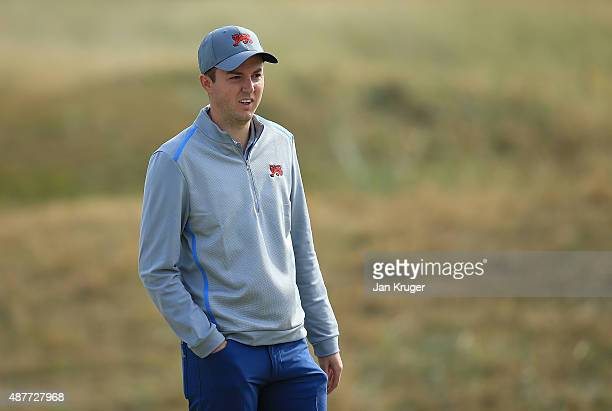 Ashley Chesters of Great Britain Ireland looks on during a Practice Round prior to the 2015 Walker Cup at Royal Lytham St Annes on September 11 2015...