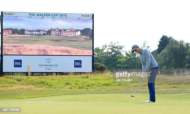 Ashley Chesters of Great Britain Ireland putts during a Practice Round prior to the 2015 Walker Cup at Royal Lytham St Annes on September 11 2015 in...