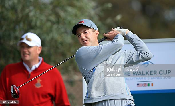 Ashley Chesters of Great Britain Ireland tees off during a Practice Round prior to the 2015 Walker Cup at Royal Lytham St Annes on September 11 2015...