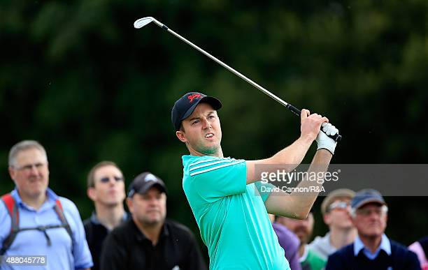 Ashley Chesters of Great Britain Ireland tees off on the 12th hole during the Sunday Singles on Day Two of the 2015 Walker Cup at Royal Lytham St...